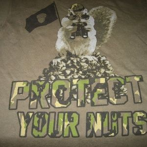 Other - PROTECT YOUR NUTS Army Green Cotton T-shirt, S